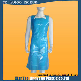 China Food Industrial Disposable Pe Apron , Blue LDPE Disposable Plastic Smocks supplier