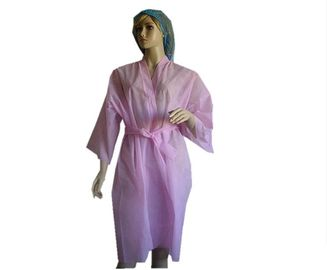 China Pink / Blue Non Woven Disposable Spa Robes , Disposable Spa Wear 50*45*65cm supplier