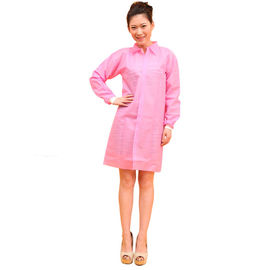 China Pink Colorful PP Medical Lab Coats , Elastic Cuff Disposable Visitor Coats S-3XL supplier