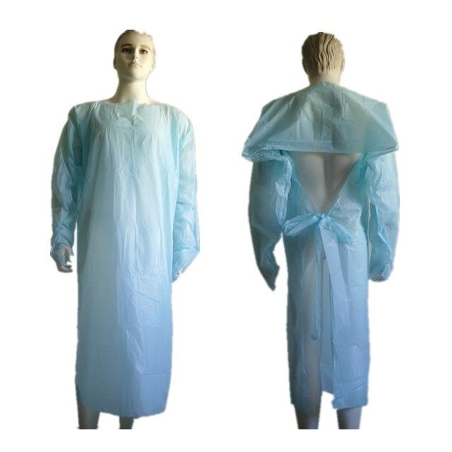 Customizable Clear Disposable Plastic Gowns Medical Clothing Anti Blood