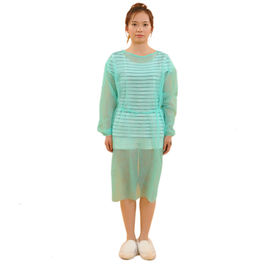 China Single Use Non Woven Isolation Gown With Knitted Cuff , Disposable Patient Gowns factory