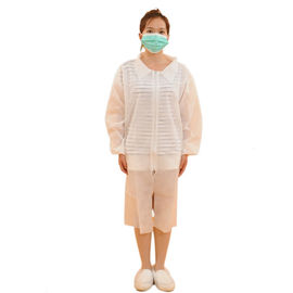 Breathable Disposable White Lab Coats , Non Woven Disposable Apron With Long Sleeves