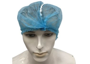 China Mens Clipped Disposable Head Cap Metal Detectable Double Elastic 18-24 Inch factory