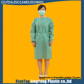 China Medical Green Disposable Isolation Gowns Non Woven SMS Tie Back Alkali Proof factory