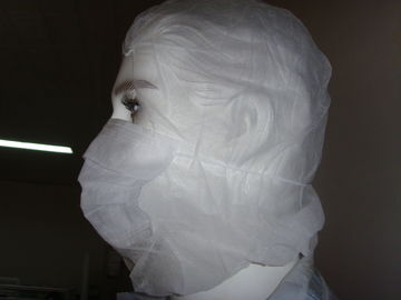 China White Disposable Balaclava Hood / Medical Head Cover With Face Mask Bottom Open factory
