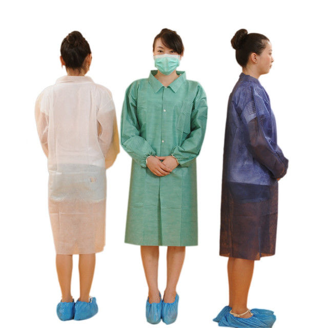 Purple Colored Sterile Disposable Non Woven Lab Coat With Collar 18-65gsm