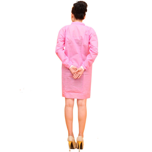 Pink Colorful PP Medical Lab Coats , Elastic Cuff Disposable Visitor Coats S-3XL